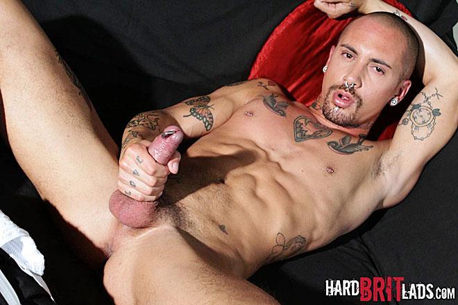 Tattooed And Pierced Stud Jerks Off Hard Then Cums